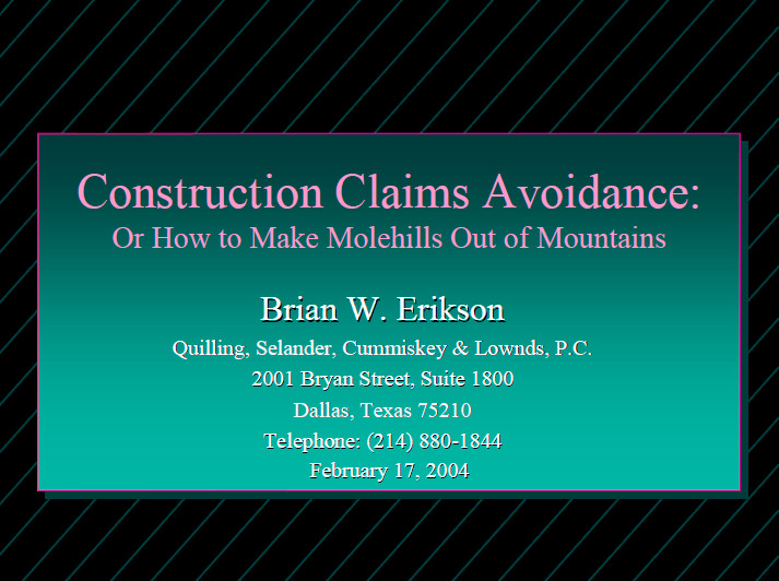 Construction Claims Avoidance