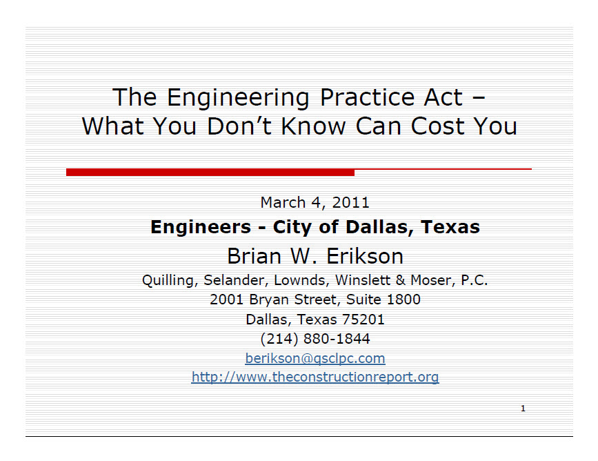 Engineering Practice Act - City of Dallas
