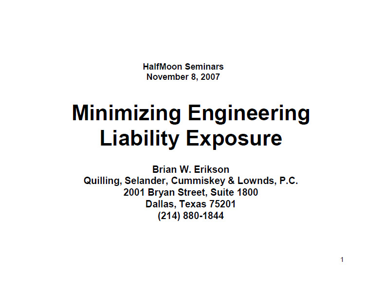 Minimizing Engineering Liability Exposure