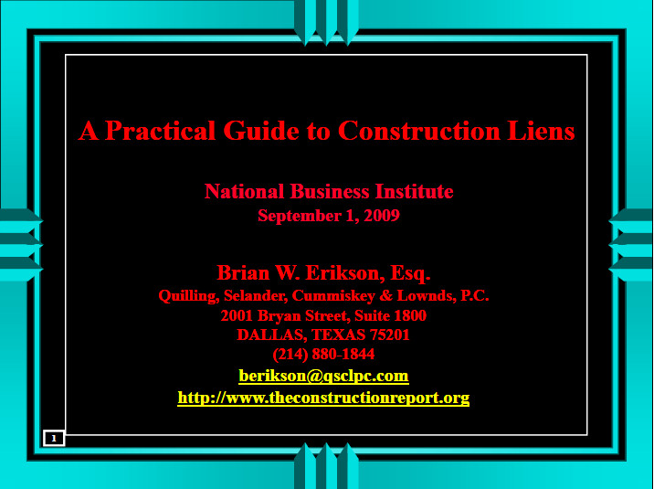 Practical Guide to Construction Liens