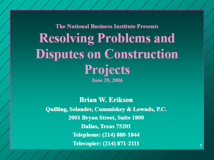 Resolving Problems & Disputes on Construction Projects
