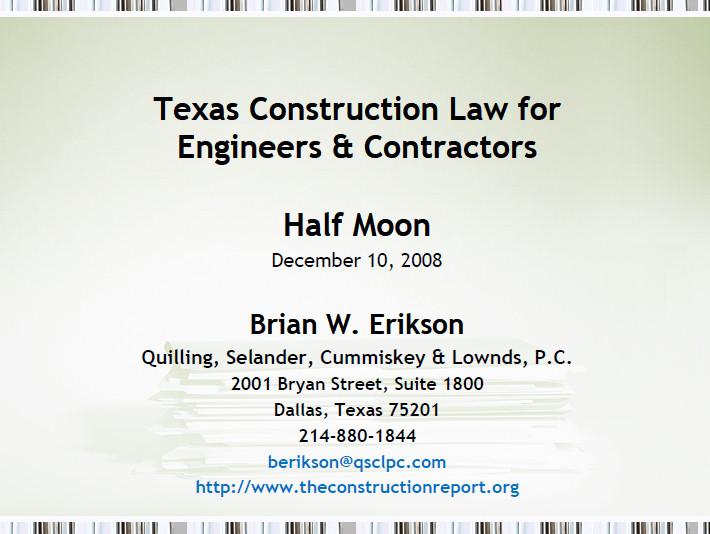 Texas Construction Law for Engineers & Contractors