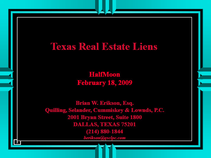 Texas Real Estate Liens